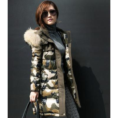 Doudoune Longue Camouflage pour femme avec Capuche Fourrure