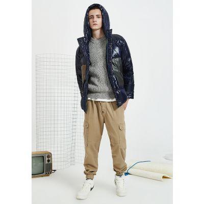 Doudoune brillante épaisse avec capuche streetwear