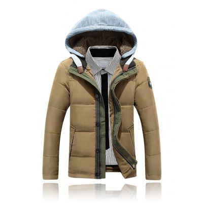 Doudoune courte hiver pour homme avec capuche en coton fourrée