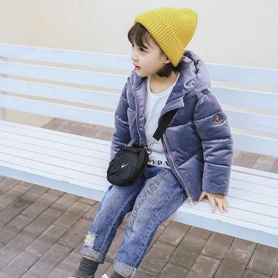 Doudoune effet velours pour enfant style urbain avec logo brodé