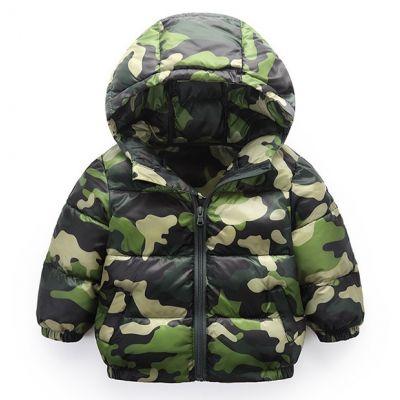 Doudoune enfant camouflage motif militaire avec capuche et rembourrage