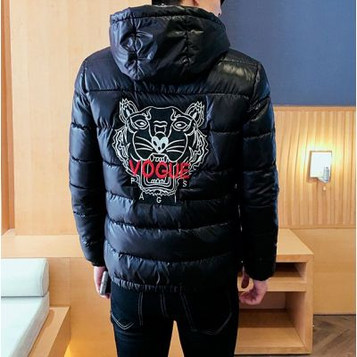 Doudoune hiver courte pour homme avec capuche et broderie tigre au dos
