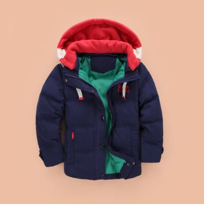 Doudoune polaire pour enfant avec capuche amovible design bicolor