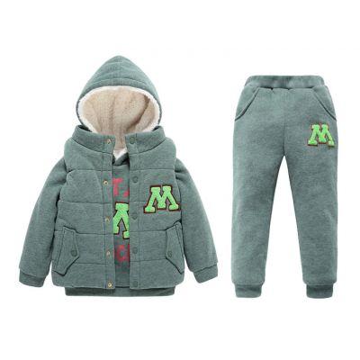 Ensemble 3 pièces pour enfant avec pantalon sweat capuche et veste
