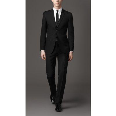 Ensemble Costume Homme Veste Deux Boutons Pantalon Noir