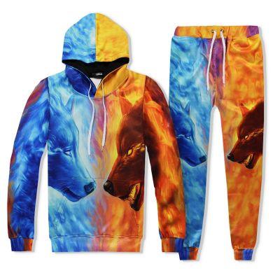 Ensemble jogging loups feu et glace hoodie pantalon chill homme femme