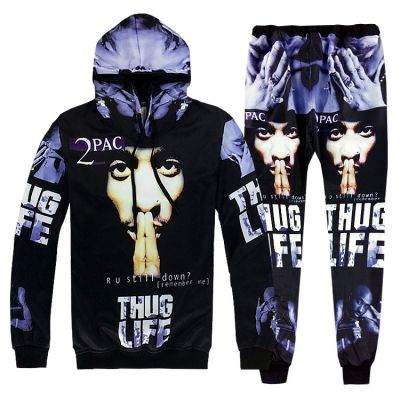 Ensemble Jogging Tupac 2pac Thug Life Sweat Capuche Pantalon