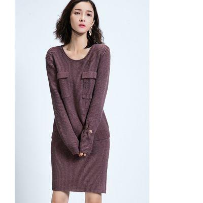 Ensemble jupe et pullover à poches avant en laine tricot knitwear