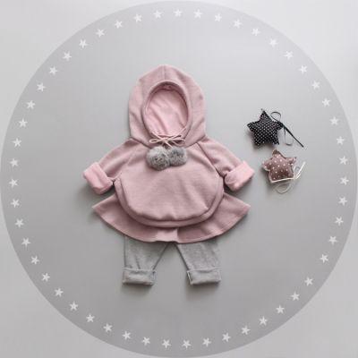Ensemble pull capuche et pantalon pour bébé petite fille rose