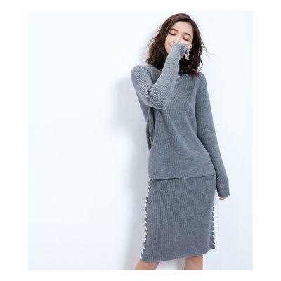 Ensemble pullover et jupe en laine tricot knitwear tendance hiver