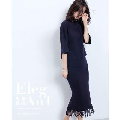 Ensemble pullover et jupe pour femme en laine coupe oversize tendance hiver