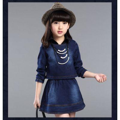 Ensemble pullover et robe en jeans et coton pour fille enfant