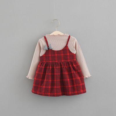 Ensemble robe à carreaux et t-shirt manches longues pour bébé enfant fille