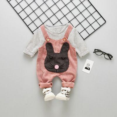 Ensemble salopette et t-shirt pour bébé petite fille avec lapin et rayures