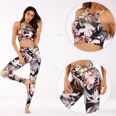 Ensemble de vêtements de yoga imprimés pour femme legging sport fitness slim