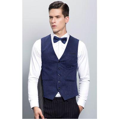 Gilet de Costume Bleu pour Homme Effet Velours 5 Boutons