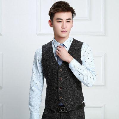 Gilet de costume en tweed pour homme effet sel et poivre vintage