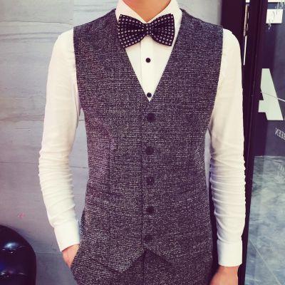 Gilet de Costume Homme Herringbone Tweed Tissu Vintage