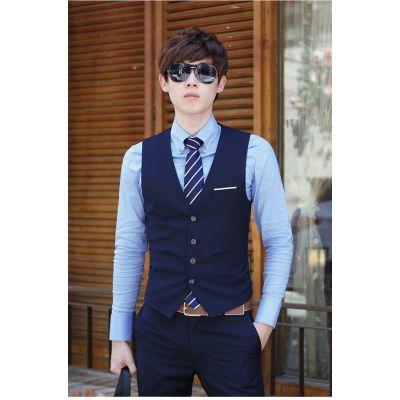 Gilet de Costume Uni Bleu Marine Homme 4 Boutons