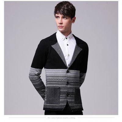 Gilet en laine pour homme avec petit col et poches