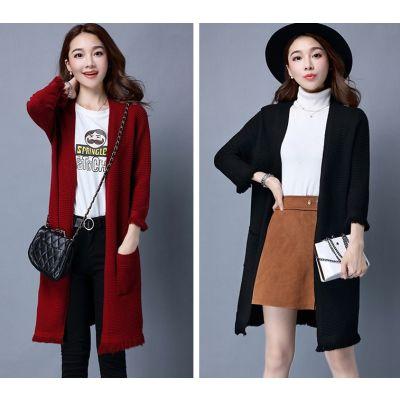 Gilet long knitwear pour femme avec bordure à frange et poches côté