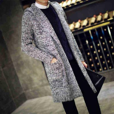 Gilet long tricot pour homme poivre et sel mode hiver