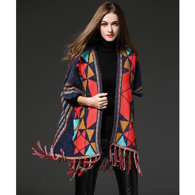 Gilet poncho pour femme avec frange et motif à couleur