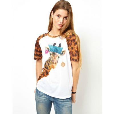 T shirt Giraffe Party pour Femme avec Manches Imprimé Motif Animal