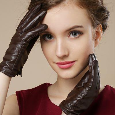 Gants en cuir pour femme avec extensions manches en acrylic