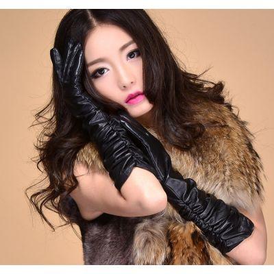 Longs gants vintage en véritable cuir pour femmes