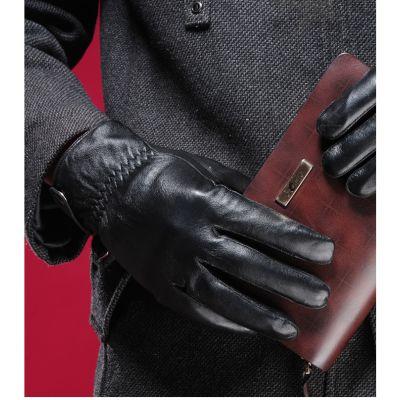 Gants hiver en cuir pour homme style classique avec fermeture à bouton