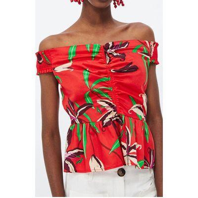 Haut rouge à fleurs colorées sans manche pour femme tendance été