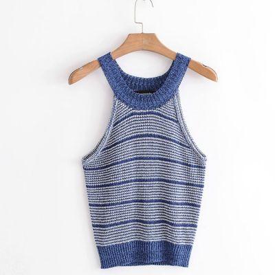 Haut sans manche en tricot pour femme avec rayures bleu marine et blanches