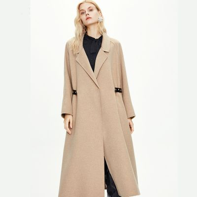 Manteau trapèze long en laine pour femme