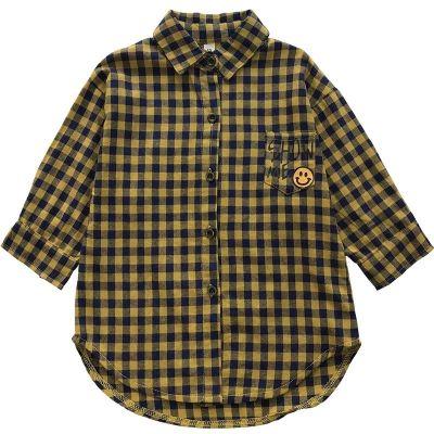 Chemise à carreaux écossais pour garçons et filles manches longues