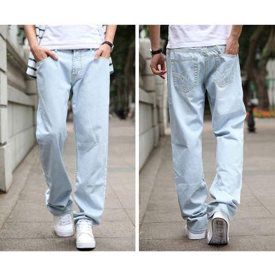 Jeans Baggy Fashion pour Homme Bleu Clair