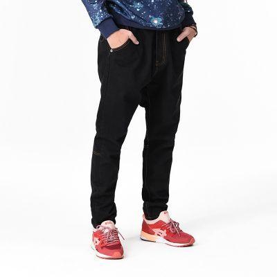 Jeans Baggy noir pour homme largeur moyenne avec coupe droite