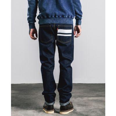 Jeans coupe droite foncé avec bande blanche arrière pour homme