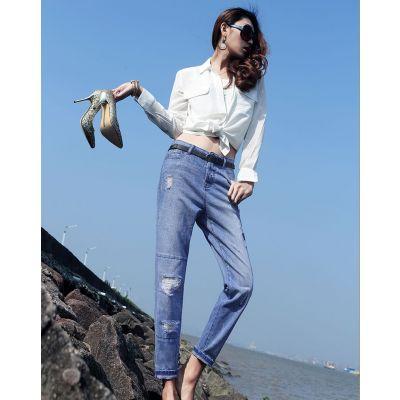 Jeans coupe droite Troué pour Femme Destroyed Denim été