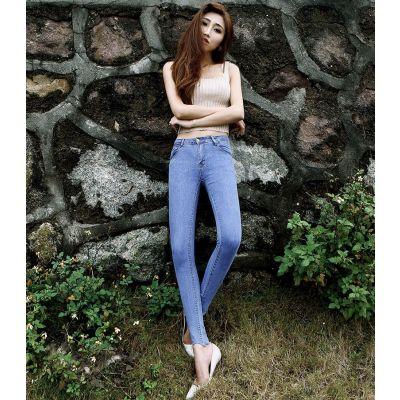 Jeans Slim Moulant à Taille Basse pour Femme denim