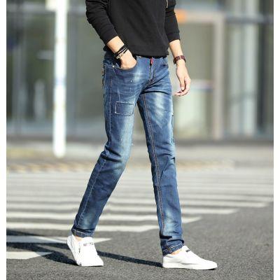 Jeans slim pour homme avec patch et effet recousu tendance
