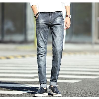 Jeans slim pour homme bleu-gris avec détails griffures