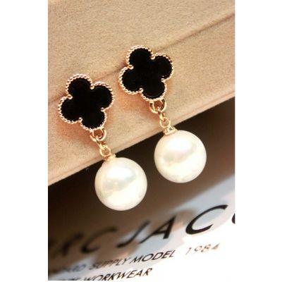 Boucles d'oreilles fantaisie avec trèfle à 4 feuilles et imitation perles