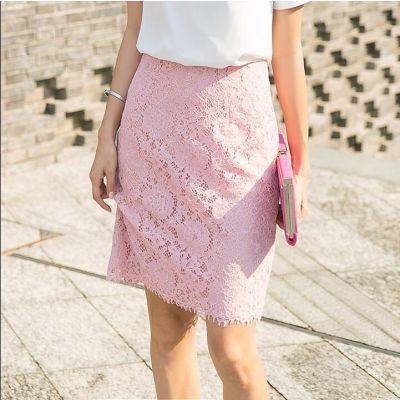 Jupe rose en dentelle pour femme avec doublure tissu intérieur