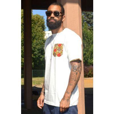 T-shirt J.Wax Blanc Tissu Wax Hollandais Poche Rouge Marron