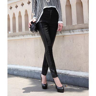 Leggings Femme Bimatière Cuir Coton Noir