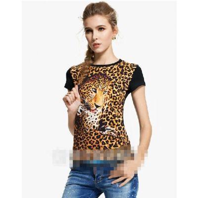 T shirt Léopard pour Femme avec Effet 3D Camouflage Imprimé Animal