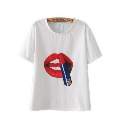 T shirt Rouge à Levre Manches Courtes pour Femme Tendance Eté