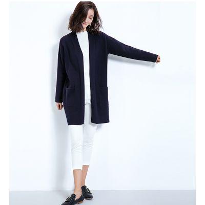 Long gilet pour femme en laine avec poches côté