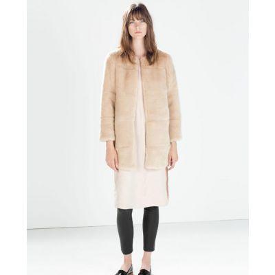 Long Manteau en Fausse Fourrure pour Femme sans Col - Beige